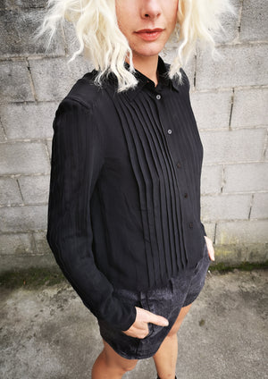 LIMITED EDITION - BLOUSE PLEATS - SILK black