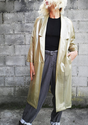 LIMITED EDITION - RAINCOAT REVERS LONG - transparent lime - BERENIK