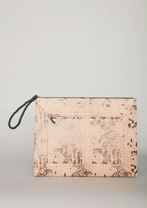 LAPTOP CASE - LEATHER printed snake beige/brown