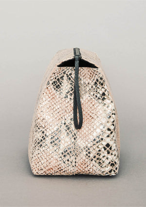 WASH BAG/PURSE - LEATHER printed snake color