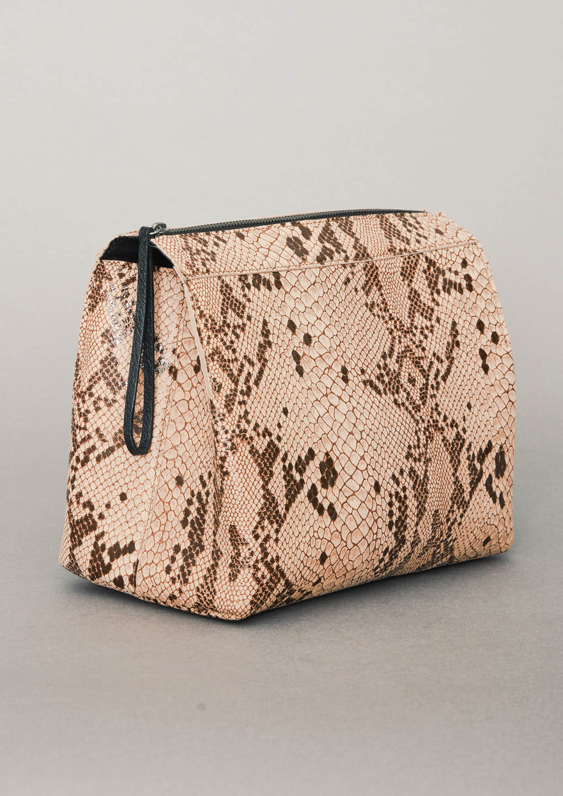 WASH BAG/PURSE - LEATHER printed snake beige/brown