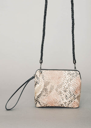 PURSE SHOULDER STRAP - LEATHER printed snake color