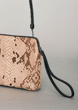 PURSE SHOULDER STRAP - LEATHER printed snake beige/brown