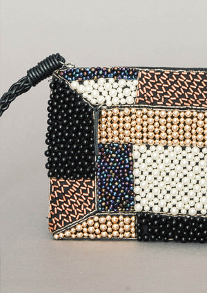 PURSE - LEATHER w. Pearl Embroidery