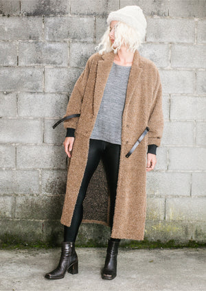 COAT LONG - ALPACA SHAGGY camel