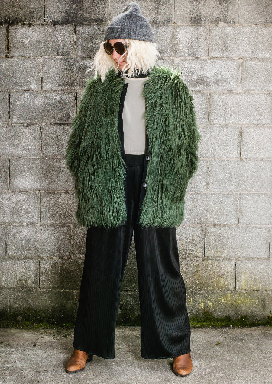 PILOT JACKET - FAUX FUR SHAGGY dark green / FUR LINING black