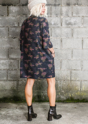 LIMITED EDITION - WINTER DRESS - PRINTED CORD burgundy/colors