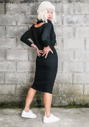 LIMITED EDITION - WINTER DRESS LONG STRETCH - black - BERENIK