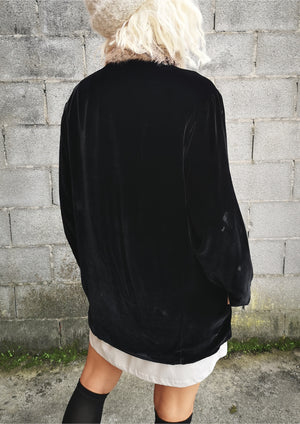 CARDIGAN - SILK VELVET black