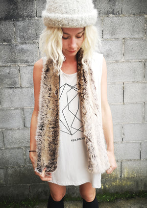 LIMITED EDITION - FAUX FUR SCARF - racoon