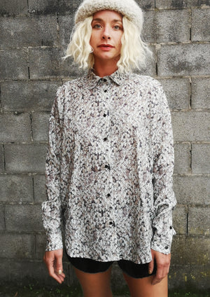 LIMITED EDITION - BLOUSE BUTTON DOWN - COTTON PRINTED sheep - BERENIK