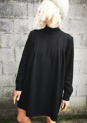 LIMITED EDITION - WINTER DRESS TURTLE NECK / SWEATER - COTTON black