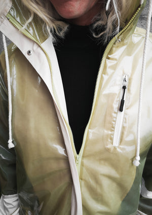 LIMITED EDITION - FUNCTIONAL RAINJACKET WITH HOOD - lime/white - BERENIK