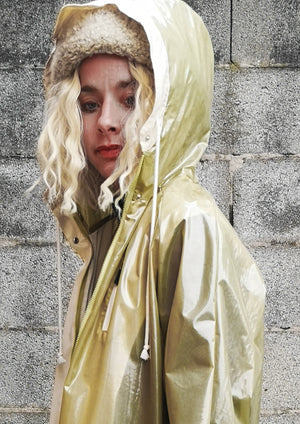 LIMITED EDITION - FUNCTIONAL RAINJACKET WITH HOOD - lime/white
