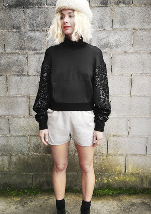 LIMITED EDITION - SWEATER TURTLENECK - SEQUINS black