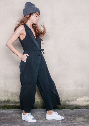 LIMITED EDTITION - JUMPSUIT WIDE WITH BELT - CUPR dark grey