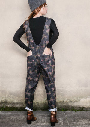 JUMPSUIT SLEEVLESS V-COLLAR - CORD printed burghundy