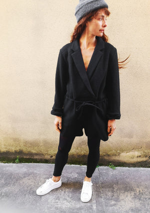 JUMPSUIT REVERS SHORT - WOOL BLEND black