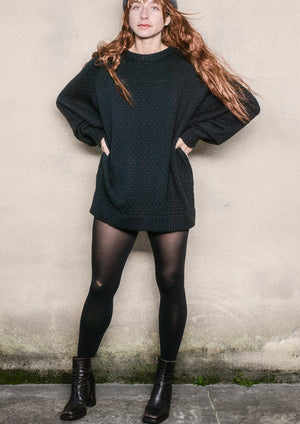 SWEATER OVERSIZE - KNIT PEARL black