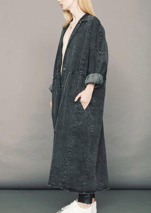 ULTRA HIP LONG COAT - DENIM WASHED - black
