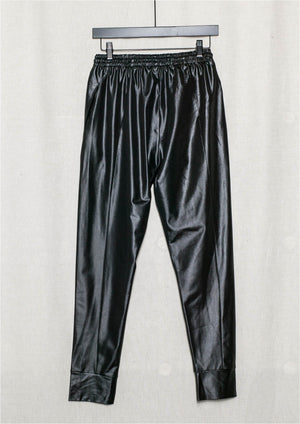 ELEGANT SWEATPANTS - black shiny