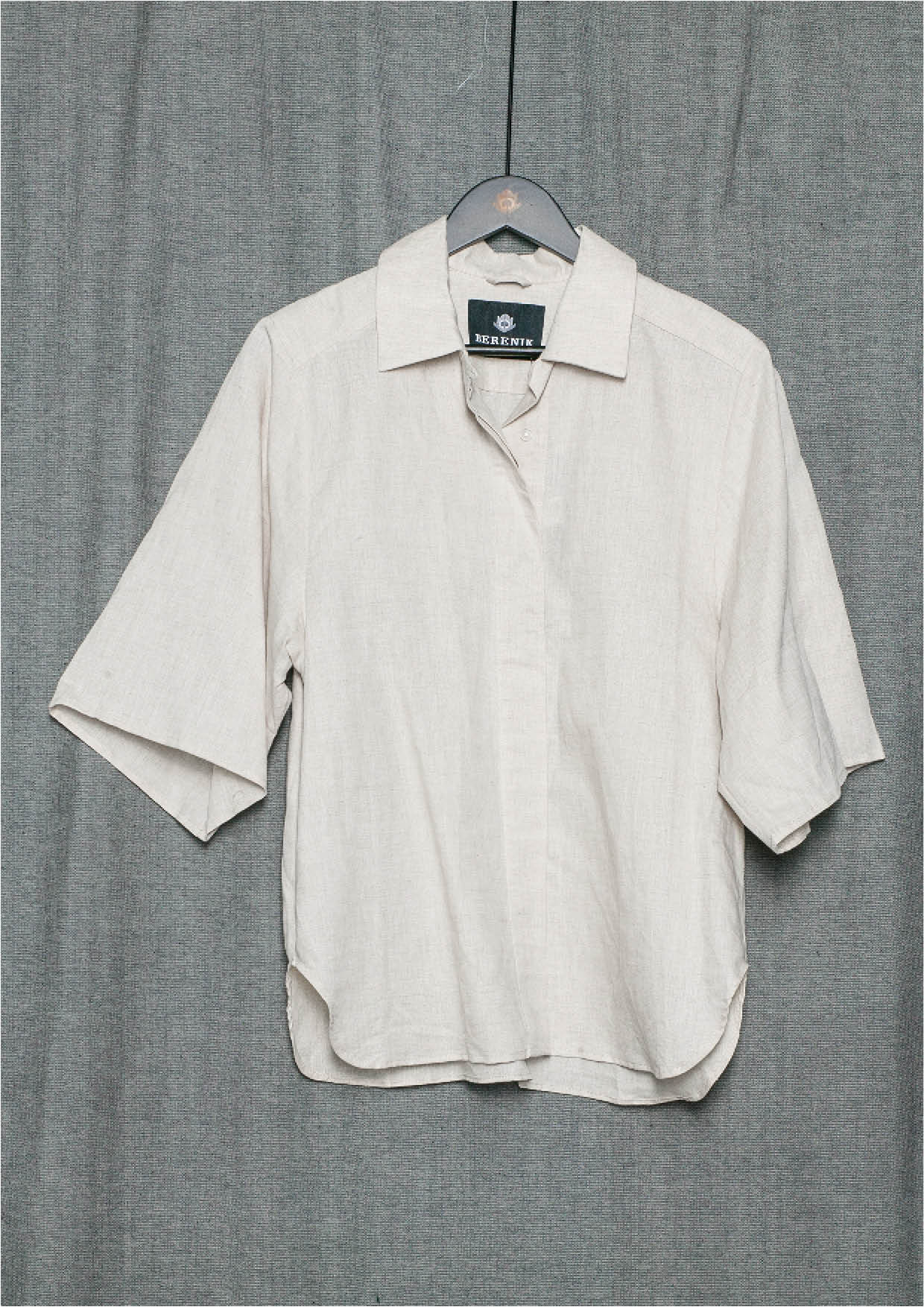 ece065337c3b78 BLOUSE SHORT SLEEVES CONCEALED BUTTONS - LINEN natural white - BERENIK
