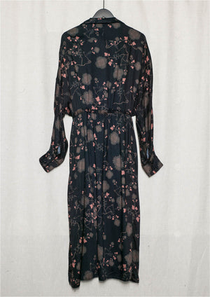 LONG SUMMER DRESS/COAT - RAYON printed black/rust