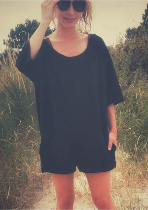 JUMPSUIT SHORT - COTTON JERSEY black