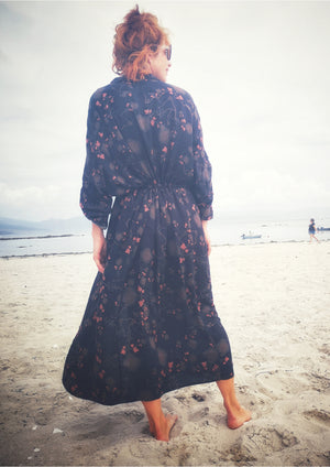 LONG SUMMER DRESS/COAT - RAYON printed black/rust - BERENIK