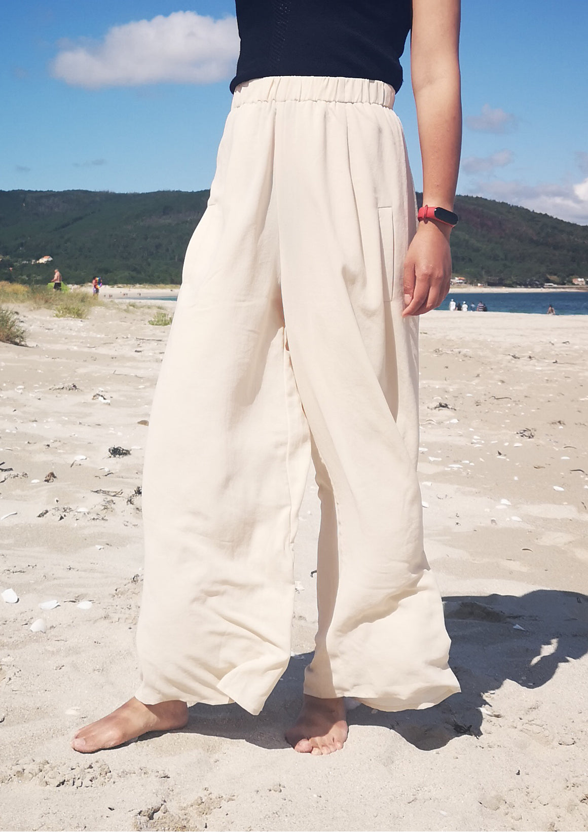 PANTS WIDE ELASTIC - creme