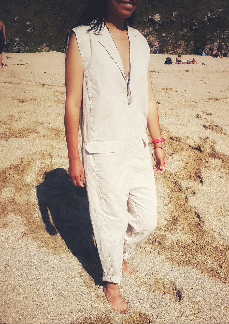 JUMPSUIT LONG - LINEN natural white