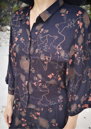 SHORT BLOUSE WIDE SLEEVES - RAYON print black/rust