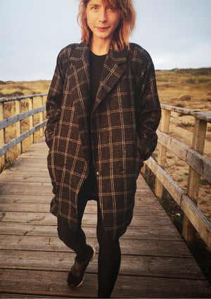 COAT TWEED - black/white