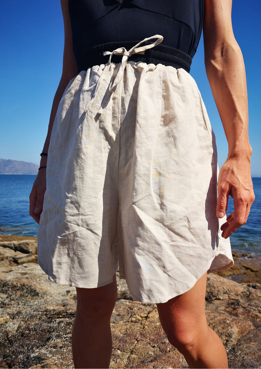 SHORTS HIGH WAIST WIDE - LINEN natural white