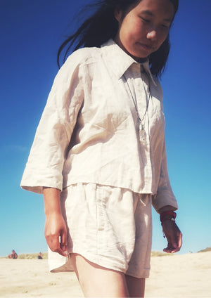 LIGHT SUMMER BLOUSE - NATURAL LINEN white - BERENIK