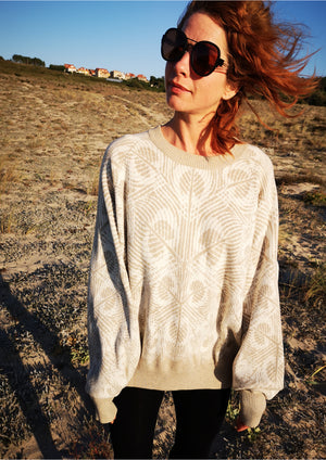 SWEATER OVERSIZED - KNIT PEACOCK beige