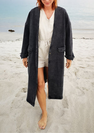 STYLISH SUMMER COAT - DENIM washed black