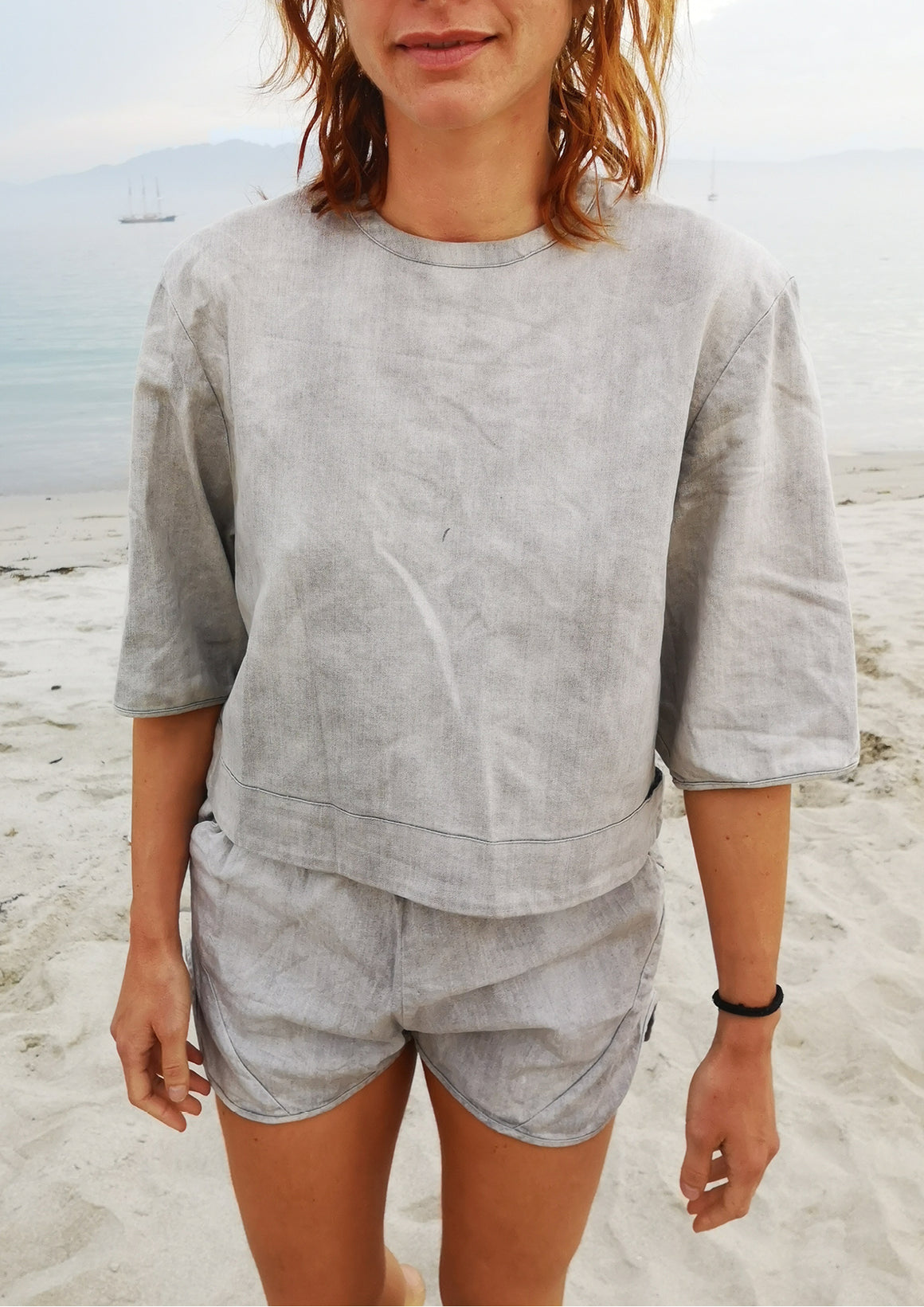 TOP SHORT SLEEVES - DENIM light grey washed - BERENIK