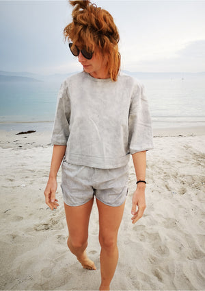 TOP SHORT SLEEVES - DENIM light grey washed