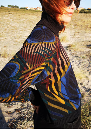 SWEATER TURTLENECK - KNIT printed peacock