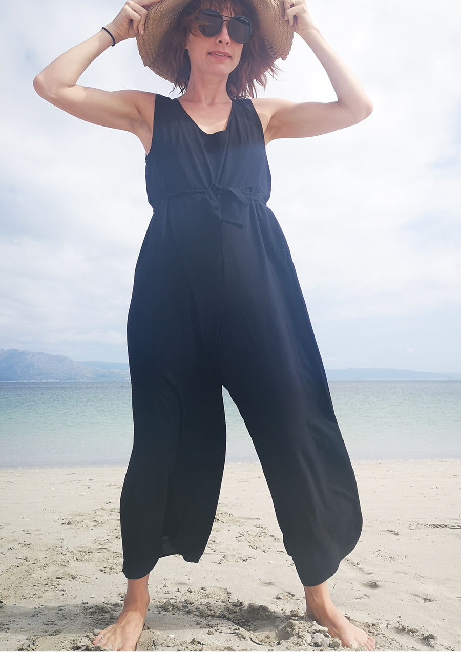JUMPSUIT WIDE - black plain