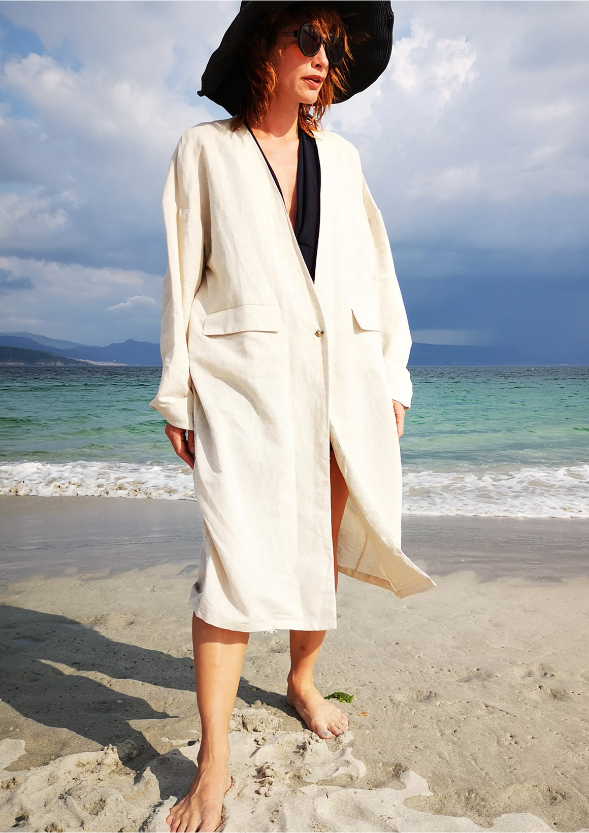 SUMMER COAT - NATURAL LINEN white - BERENIK