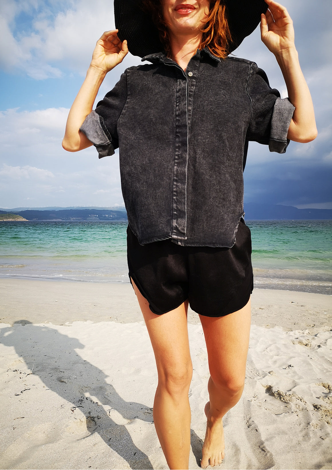 HIP DENIM BLOUSE - washed black