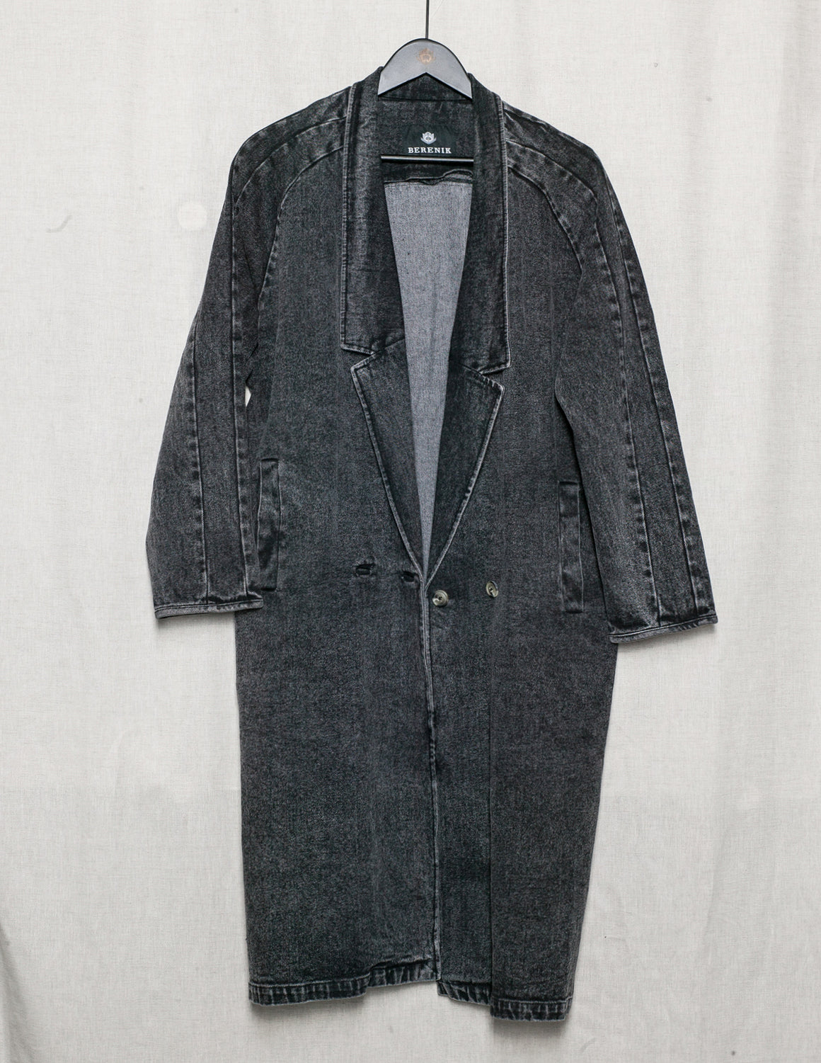 SAMPLE - COAT DEEP REVERS - DENIM washed black
