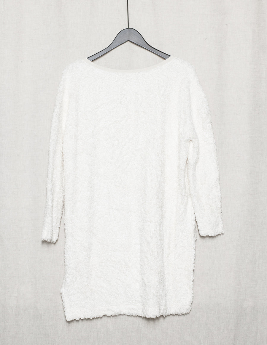 SAMPLE - SWEATER LONG WITH SIDE SLOTS - SHAGGY white