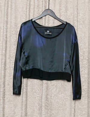 SAMPLE - TOP LONG SLEEVES - SILK blue/black