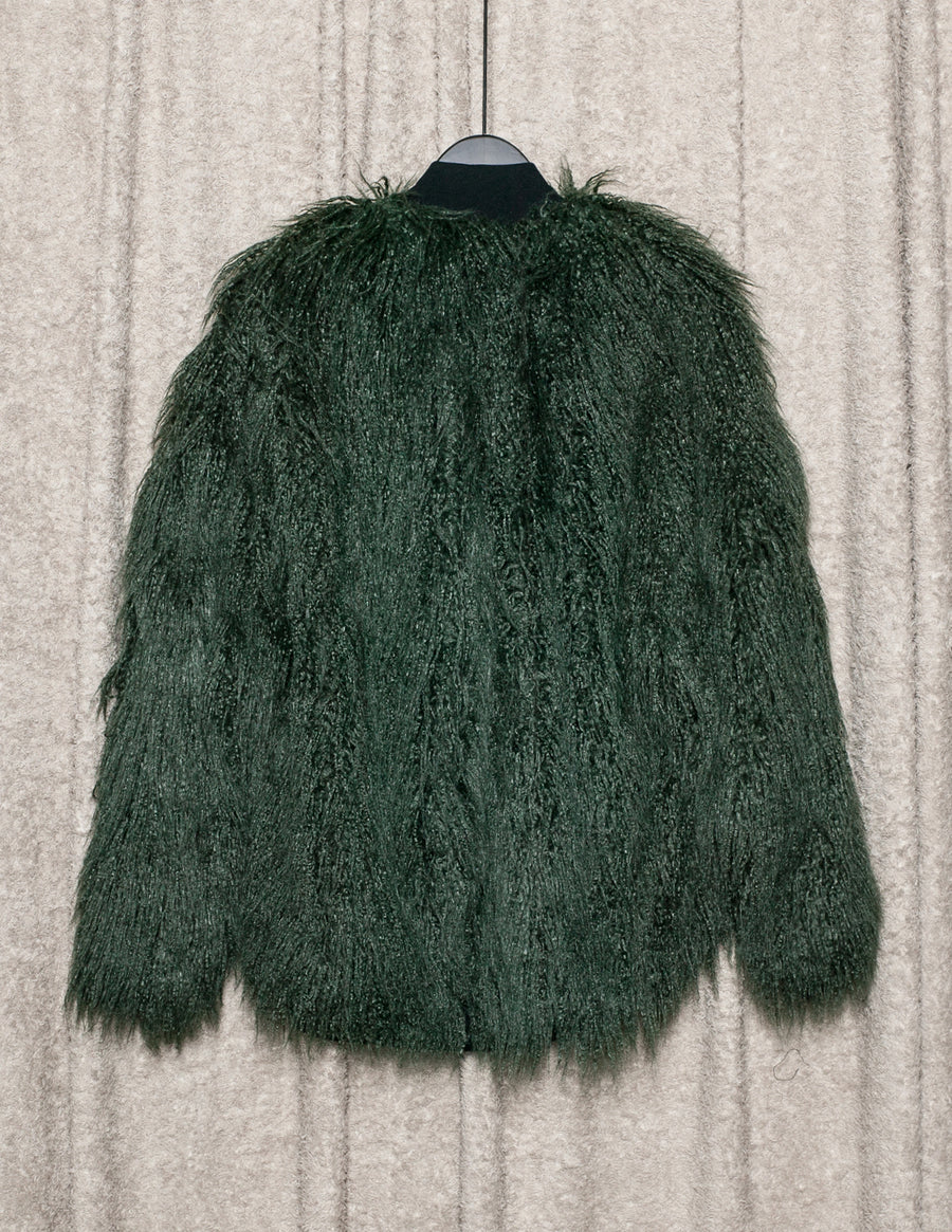 SAMPLE - PILOT JACKET - Shaggy Faux Fur Green