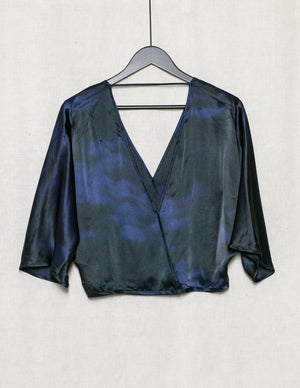 SAMPLE - TOP DRAPING - SILK print blue/black