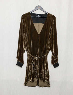 SAMPLE - JUMPSUIT SHORT WITH BELT - SILK VELVET gold
