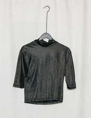 SAMPLE - SHIRT TURTLE NECK - black with golden shine